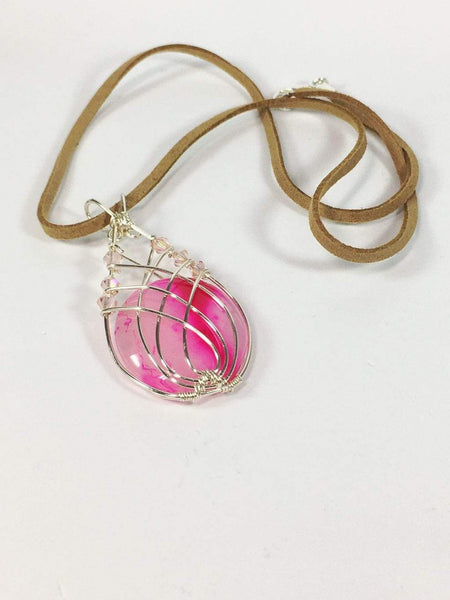 Handmade Wire Wrapped Pink Onyx Gemstone Pendant Necklace