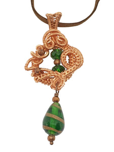 Handmade Wire Wrapped Copper Pendant Necklace