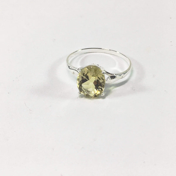 Handmade Lemon Quartz Gemstone Sterling Silver Ring