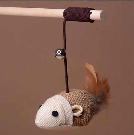 Mouse Dangle Wooden Rod Rope Toy