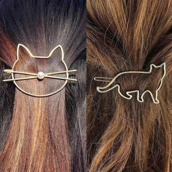 Gorgeous Kitty Hair Clips-Hair Ornaments-CatCurio Pet Store - World's Best Cat Supplies Store-Set of 4 (Gold x 2, Silver x 2)-CatCurio Pet Store - World's Best Cat Supplies Store