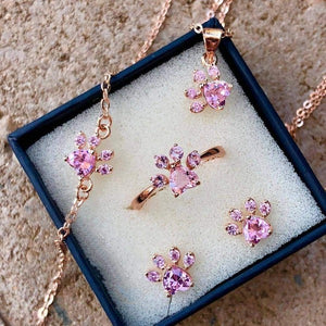 Cat Paw Rose Gold Jewelry Set for Women Ring Earring Necklace Bracelet