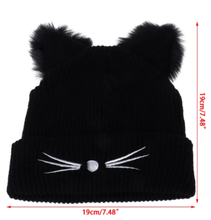 Load image into Gallery viewer, Hand-Knitted Cat Ear Winter Beanie