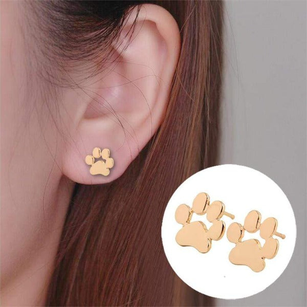 Cats Dog Paw Print Stud Earrings Women Girls Jewelry  Silver Rose Gold