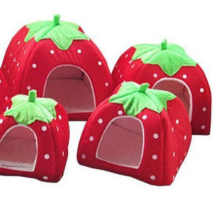 Soft Strawberry Dog Cat House Comfortable Bed Fold-able Cushion Basket
