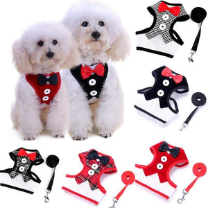 Cat Dog Vest Harness Bow Tie Suit Tuxedo Jacket Leash Set Small Animal Black