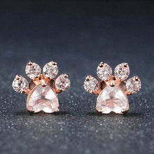 Load image into Gallery viewer, Cat Paw Rose Gold Jewelry Set for Women Ring Earring Necklace Bracelet Stud