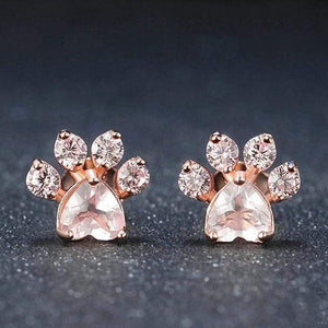 Cat Paw Rose Gold Jewelry Set for Women Ring Earring Necklace Bracelet Stud
