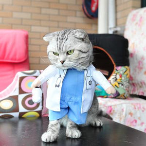 Funny Cat Clothes Pirate Suit Cloth Costume Halloween Party Kitty Suit Doctor
