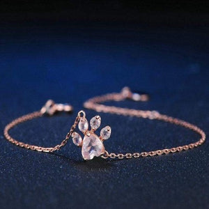 Cat Paw Rose Gold Jewelry Set for Women  Bracelet