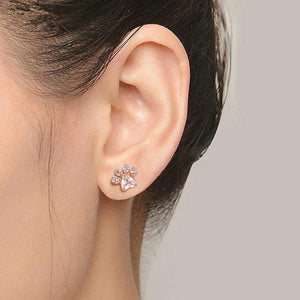 Cat Paw Rose Gold Jewelry Set for Women Stud