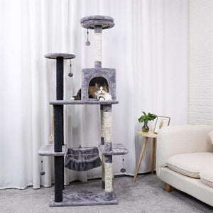 Pet Cat Tree House Hanging Ball Condo Climbing Scratcher Post Play Toy