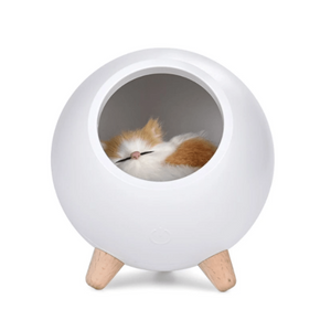 Sleeping Cat House Night Light LED Bluetooth Speaker Bedroom Home Décor White