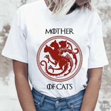 Load image into Gallery viewer, Mother Of Cats Women T-Shirts Cat Print Graphic Tees Sexy Short Sleeve White