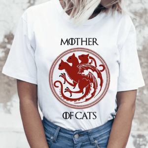 Mother Of Cats Women T-Shirts Cat Print Graphic Tees Sexy Short Sleeve White