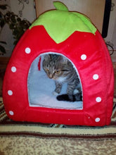 Load image into Gallery viewer, Soft Strawberry Dog Cat House Comfortable Bed Fold-able Cushion Basket