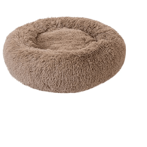 Round Plush Cat Bed Light Coffee