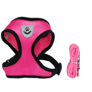 Cat Dog Pet Walking Harness With Leash Pink