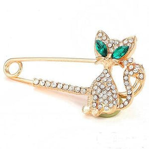 Woman Fashion Jewelry  Animal Brooches Cute Eye Crystal Cat Brooch Pin Gold