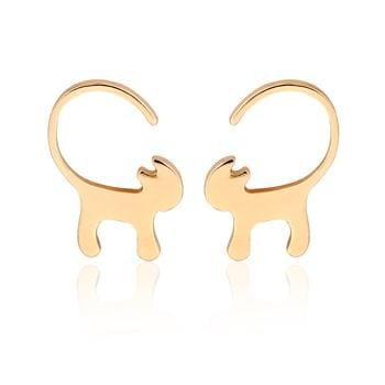 New Fashion Long Tail Cat Stud Earring Women Tiny Kitty Earrings Gifts