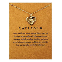 Load image into Gallery viewer, Gold Silver Fashion Heart Necklace Charm Paw Dog Cats Lover Cute Print