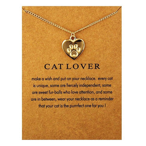 Gold Silver Fashion Heart Necklace Charm Paw Dog Cats Lover Cute Print