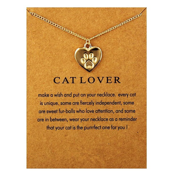 Fashionable Necklace Charm Paw - Gold Silver-Necklace-CatCurio Pet Store - World's Best Cat Supplies Store-Gold - Card Not Included-CatCurio Pet Store - World's Best Cat Supplies Store