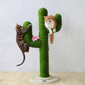 Sisal Rope Cat Tree Climbing Frame Scratching Toy Kitty Sharpen Claws Green