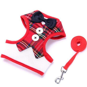 Cat Dog Vest Harness Bow Tie Suit Tuxedo Jacket Leash Set Small Animal Red Grid