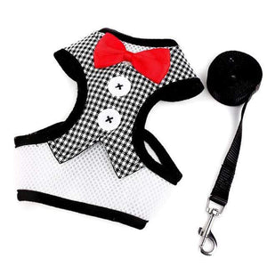 Cat Dog Vest Harness Bow Tie Suit Tuxedo Jacket Leash Set Small Animal