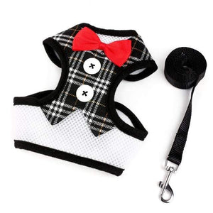Cat Dog Vest Harness Bow Tie Suit Tuxedo Jacket Leash Set Small Animal Black and White