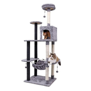 Pet Cat Tree House Hanging Ball Condo Climbing Scratcher Post Play Toy Dark Gray