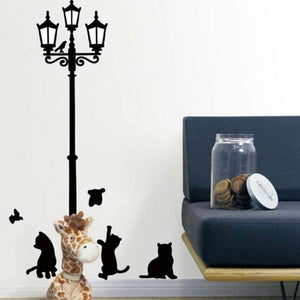 Creative Popular Ancient Lamp Cats and Birds Wall Sticker cartoon Wall
