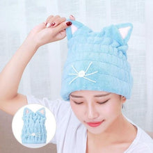 Load image into Gallery viewer, Cute Cat Ears Hair-Drying Towel Bath Cap