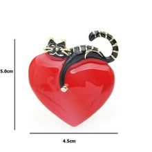 Load image into Gallery viewer, Lazy Cat Heart Brooch Pin