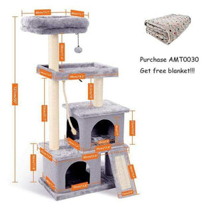 Pet Cat Tree House Hanging Ball Condo Climbing Scratcher Post Play Toy Light Grey