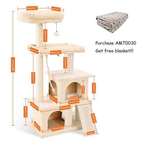 Pet Cat Tree House Hanging Ball Condo Climbing Scratcher Post Play Toy Cream