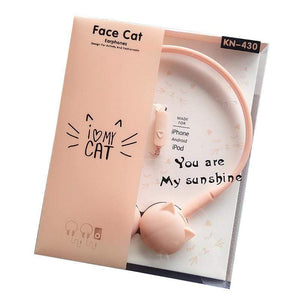 Cat Face Earphones Music Stereo Headphone Microphone Earpieces Headset