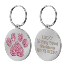 Load image into Gallery viewer, Glitter Paw Engraved  ID Tags