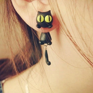 Curiously Cute Black Cat Earrings With Surgical Steel Posts Woman Gift