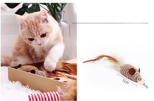 7 Style/1 Set Cat Toy Interactive Stick Funny Mouse Game Wand Feather