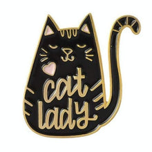 Load image into Gallery viewer, Cat Lady Enamel Pin Cat Lovers Gift Cat Gifts Bandana Pin Chat Broche Black