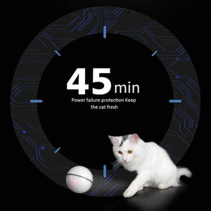 360 Degree Interactive Cat LED Motion Ball Toy USB Electric Automatic White