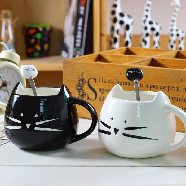 White Black Cat Coffee Cup With Spoon Ceramic Lovers Mug Cartoon Gifts