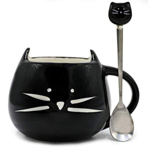 White Black Cat Coffee Cup With Spoon Ceramic Lovers Mug Cartoon Gifts Black