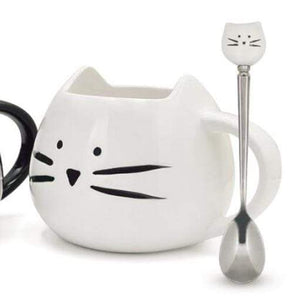 White Black Cat Coffee Cup With Spoon Ceramic Lovers Mug Cartoon Gifts White