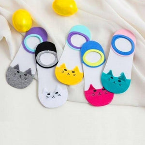 Transparent Cat Socks 5 Pairs Cute Animal Women Socks Funny Cartoon