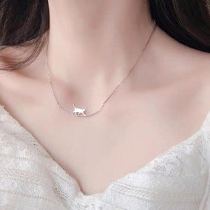 Walking Cat Curved Silver Animal Pet Lover Cute Collarbone Necklace