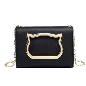 Gold Cat Face Crossbody Handbag