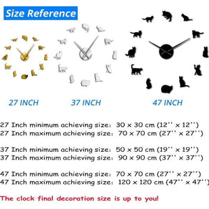 Frameless Cat Silhouette Wall Art Clock Watch Kitten 3D DIY Wall Clock